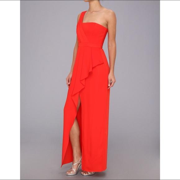BCBGMaxAzria Dresses | Bcbg Kristine Oneshoulder Peplum Gown Red ...